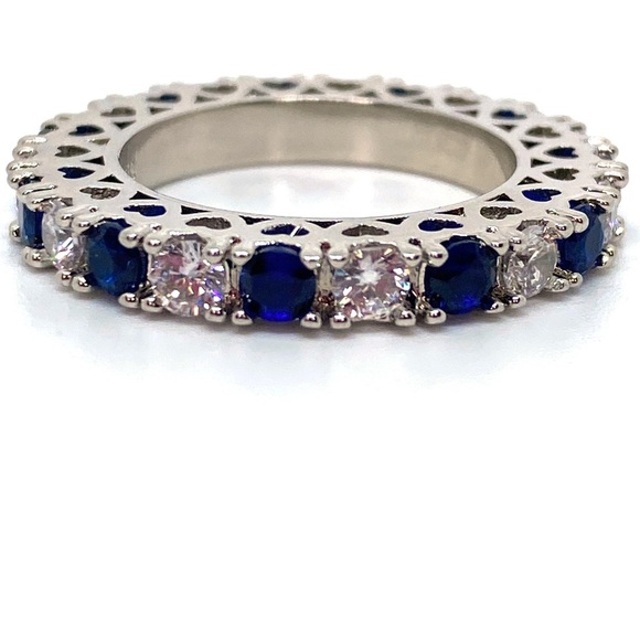 Sterling Silver 925 Diamond Sapphire Filigree Ring